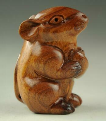 Chinese Boxwood hand engraving mouse netsuke Figurine a01