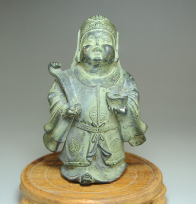 china old hand-made bronze hand engraving the god of wealth antique statue Bc01E