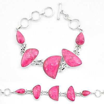 sale natural pink thulite (unionite, pink zoisite) silver tennis bracelet p20463