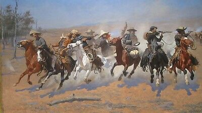 """oil painting handpainted on canvas""""  A gun battle between the cowboys """" NO3098"""