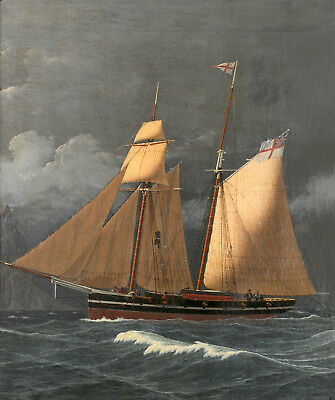 """oil painting handpainted on canvas """"Two-masted schooner off Gibraltar  """"@N12414"""