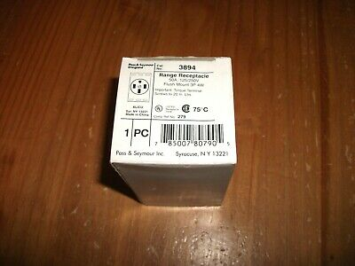 Pass & Seymour Range Receptacle 50A 50 Amp Flush Mount 3 Pole 4 Wire 3894 - New