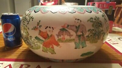 Nice Vintage Chinese Asian Oriental Chinoiserie Porcelain Fish Bowl Planter