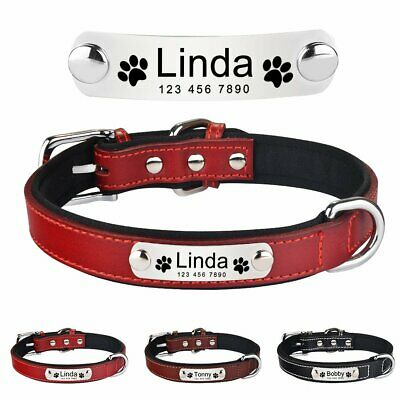 Leather Personalized Dog Collar Puppy ID Name Custom Engraved Medium Large Dogs