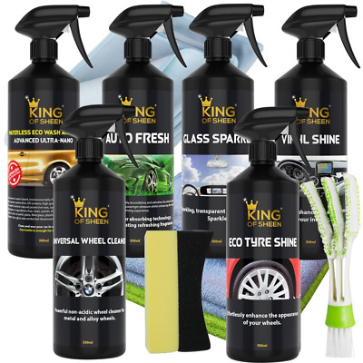 King of Sheen Waterless 11 Piece Car Cleaning Kit, to Clean Your Entire Vehicle