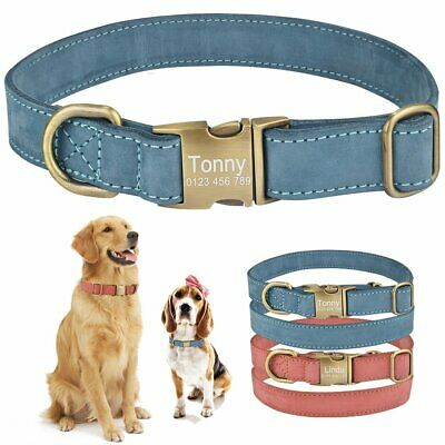 Personalized Dog Collar Genuine Leather Puppy Name ID tag Custom Engraved S M L
