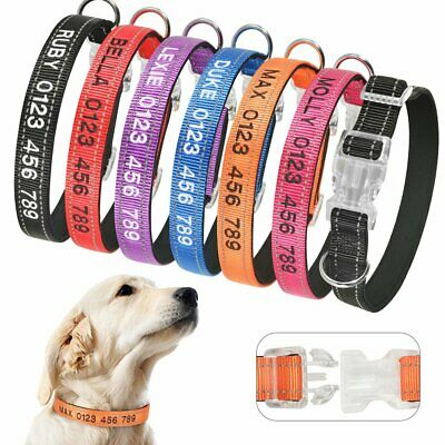 Personalized Dog Collar Reflective Nylon Puppy ID Name Free Custom Embroidered