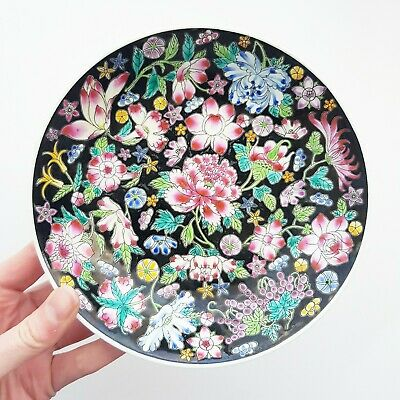 """Vintage Millefleur Famille Noire Chinese 7"""" Bowl 1000 Flowers, hand painted"""