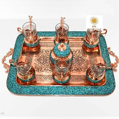 Persian Handmade copper tea set decorated with Persian green turquoise (firoza)
