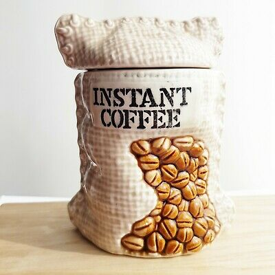 Vintage Instant Coffee Canister/Pot Hesium Coffee Sack kitsch Design Ceramic