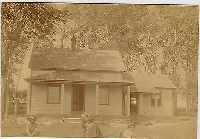 """Vintage Matted Photo - Outside - House in The Woods, Man, Lady Child-5 1/2"""" x 8"""""""