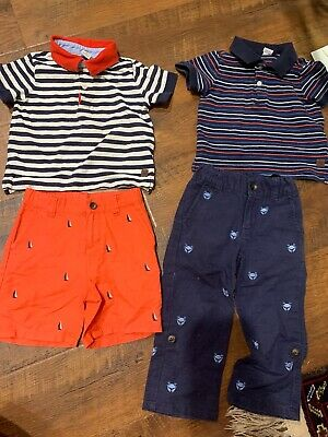2 Sets Janie Jack Boy Sets Tshirts And Linen Pants And Shorts