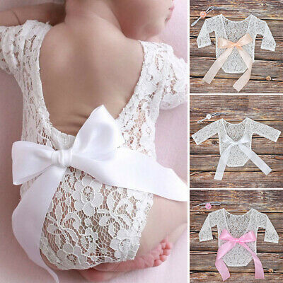 Infant Baby Girls Floral Lace See Through Backless Jumpsuit Romper Bodysuit