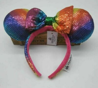 NEW Disney Parks Minnie Mouse Ears Rainbow Headband Bow Hat Metallic Sequin