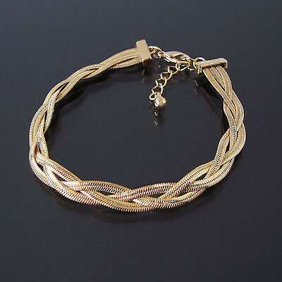 Bracelet Gold Plated 3 Snake Chain 18-21, 5cm Braided Ladies Jewellery A916