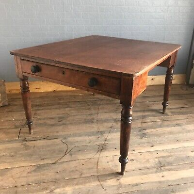 Antique mahogany Dining Kitchen table Victorian Kneehole Desk Rustic