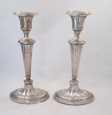 A 19th Century Pair of Silver Plated Candlesticks - Adams Style - Oval Bases