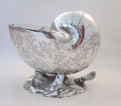 A Fine Silver Plated Spoon Warmer / Nautilus Shell c1900
