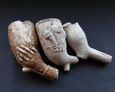 3 clay pipe bowls, 17th to 18th century AD