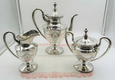 Stieff Sterling Silver Coffeepot, Covered Sugar & Creamer #151 Colonial Pattern
