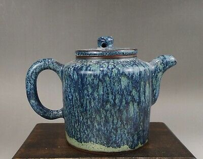 A large/fine Chinese early 20C marked Zisha teapot in Robin's egg glaze-Republic