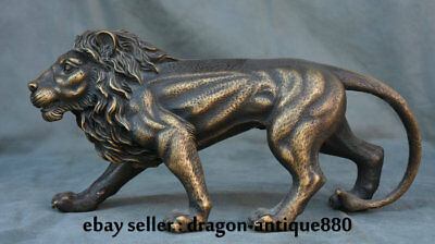 "13.6"" Old Chinese Copper Feng Shui Wild Aniaml Ferocious Lion Statue Sculpture"
