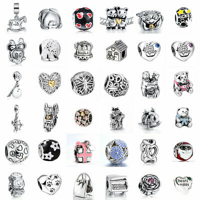 European 925 Silver Charms Beads Pendant Fit Sterling Bracelet Necklace Chain