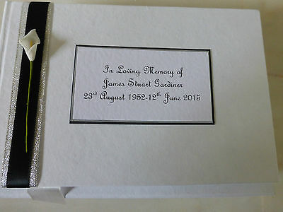 Personalised Condolence Bereavement Funeral memorial guest book black lily **