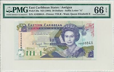 Central Bank East Caribbean States / Antigua  50 dollars nd (1993)  PMG  66EPQ