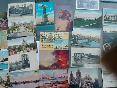 Vintage early 1900's Postcards (29) TRAVEL BLIMP SPHINX VOLCANO CHICAGO FIRE NY