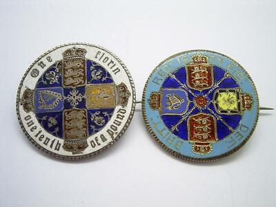 Two Antique Victorian Enameled Florin Coins 1887 & Gothic As Brooches