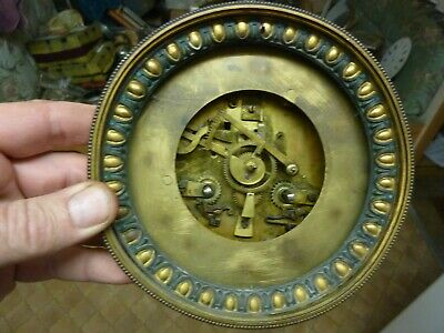 Antique French Clock Movement & Bezel--Spares--Repair  (Ng) Free Post