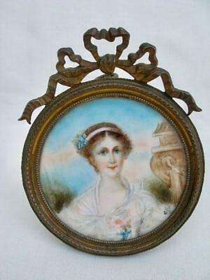 Antique French Late 19th Century Portrait Miniature Painting of a Lady.