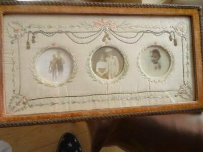 A Stunning 19th Century French Empire  Embroidered Photo Frame
