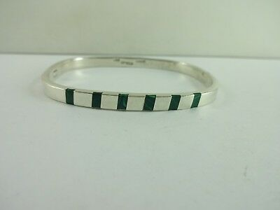 Vintage Sterling Silver Taxco Mexico Malachite Rectangle Snap On Bracelet 7""