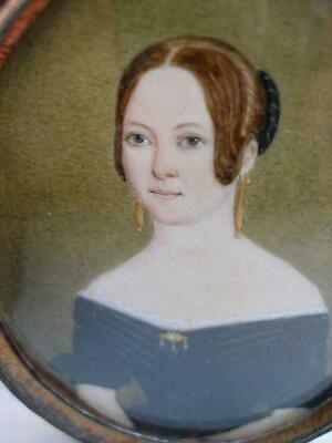Fine Georgian English Portrait Miniature of A Lady In Folding Leather Frame.