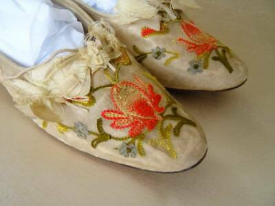 A Stunning Pair Of Embroidered Silk Victorian Shoes C.1880