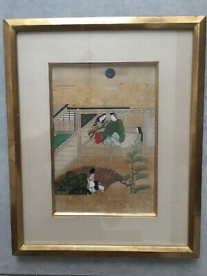 Japanese 19thC TALES OF GENJI Framed Painted Woodblock Print Gold leaf 3 of 3