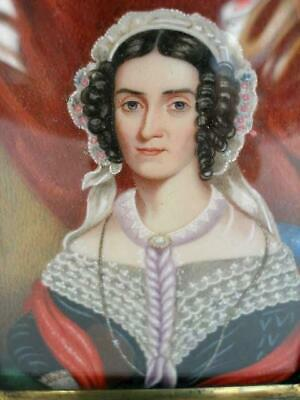 Antique English Late 19th Century Portrait Miniature Painting of a Lady