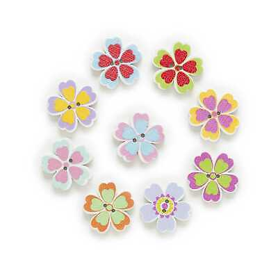 50pcs Flower Wood Buttons for Handmade Sewing Scrapbooking Cloth Home Decor 20mm