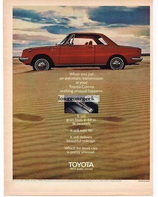 1969 Toyota Corona Red 2-door Coupe in the desert Vtg Print Ad