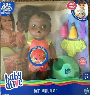 NEW Baby Alive Potty Dance Baby Talking Doll Black Curly Hair - African American