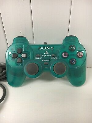 Official Sony Playstation Transparent Clear Green Dualshock Analog Controller