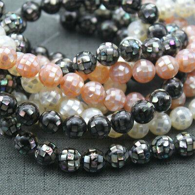 1PCS 10mm Round Faceted Natural Shell Loose Beads Diy Accessories Handmade