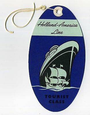 Luggage Label Ss Rotterdam Holland-America Line 1960 Tourist Class Bagage