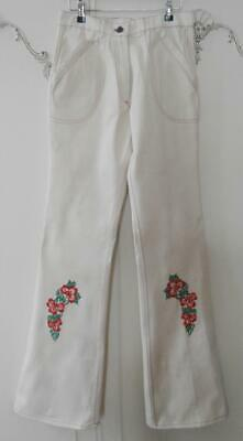"BN Vintage Early 1970's Cream Denim Embroidered Flared Jeans 30"" Waist Deadstock"