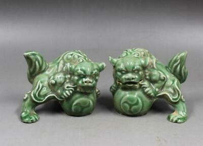 pair Chinese old hand made Longquan Kiln Green glaze porcelain lion statue c02