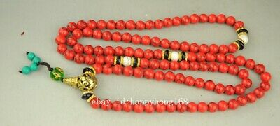 EXQUISITE CHINESE RED CORAL HAND WOVEN NECKLACES a01