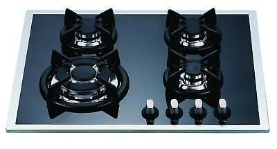 60cm BLACK GLASS 4 BURNER HEAVY DUTY CAST IRON GAS COOKTOP - LPG JETS INCLUDED