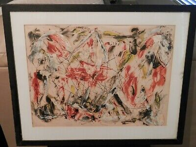 OLD Mid Century Abstract Fine Art OIL PAINTING original artwork artist in Museum